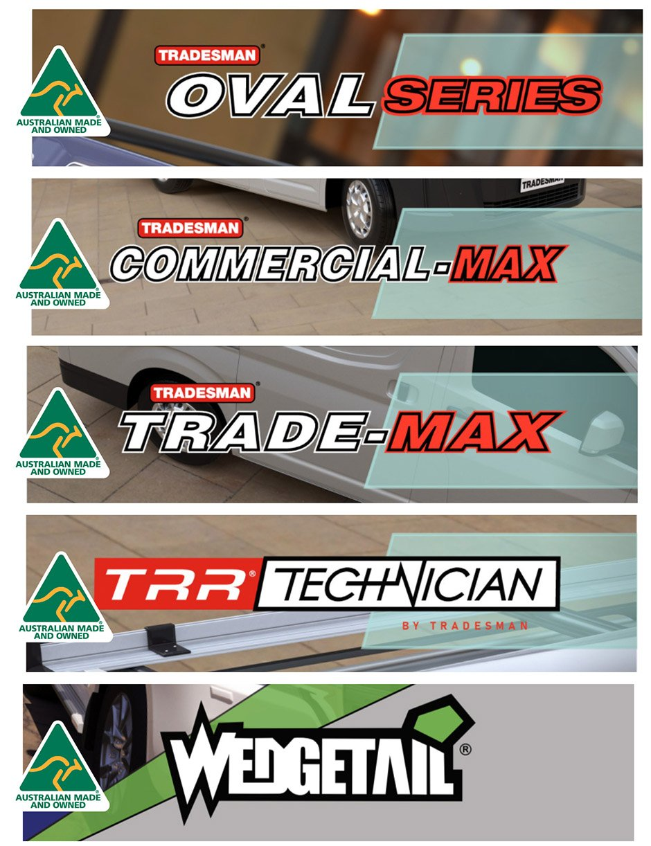 "Hero image for the ""Australian Made"" blog showing logotypes for all five product lines – oval series, commercial-max, trade-max, technician and wedgetail."